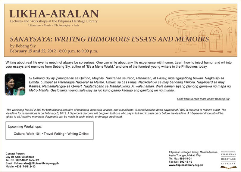 Sanaysaya: Writing Humorous Essays and Memoirs
