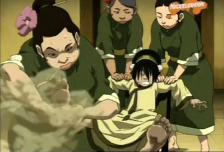 Toph getting a foot spa.