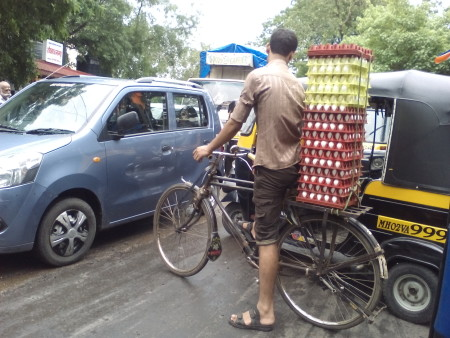 Bicycle delivery in Mumbai.